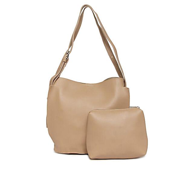 Alvaro Castagnino Beige Handbag & Pouch Combo for Women