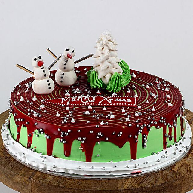Christmas Snowman Strawberry Cake- 1 Kg Eggless