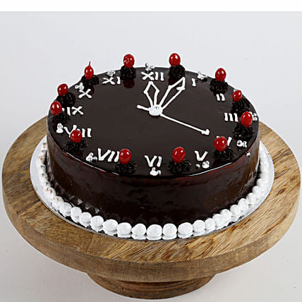 New Year Clock Black Forest Cake- 2 Kg Eggless