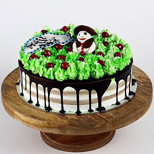 Snowman Cherry Black Forest Cake- 1 Kg Eggless