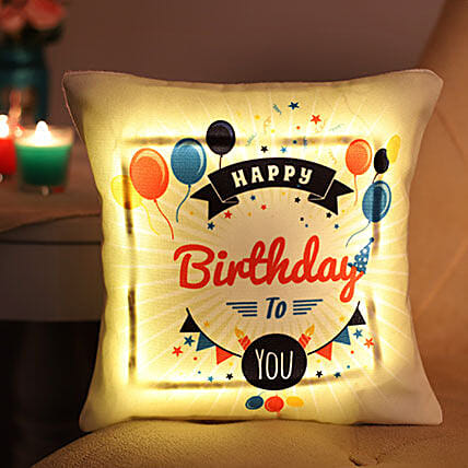 Happy Birthday Printed LED Cushion:Best Birthday Gift for Sister