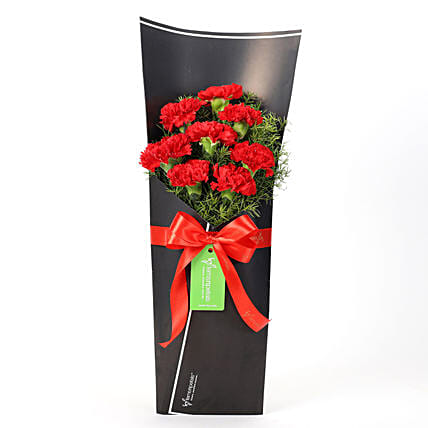8 Red Carnations in Black Paper
