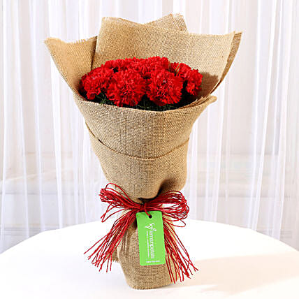 10 Red Carnations Bouquet in Jute