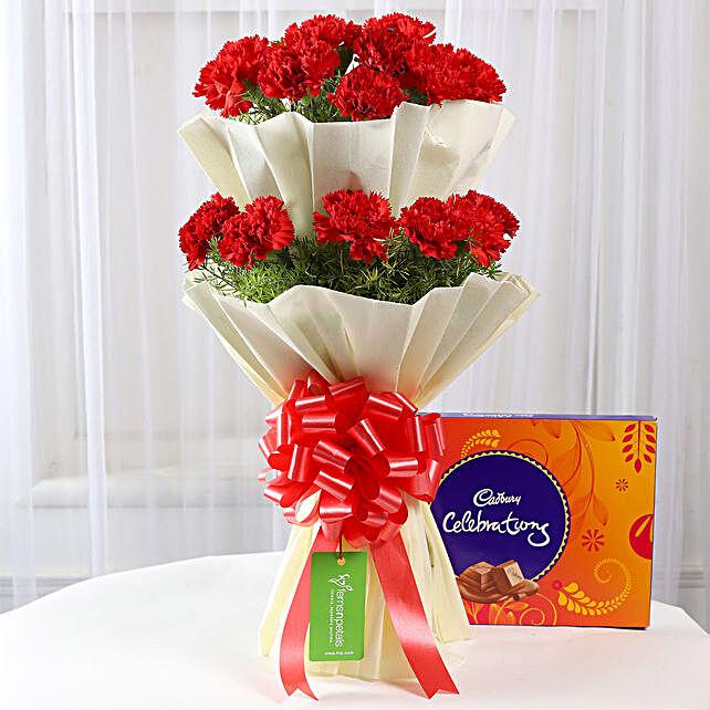 carnations and cadbury celebrations
