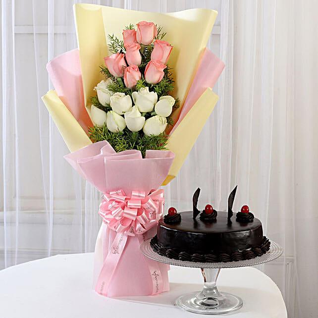 Pink & White Roses & Truffle Cake