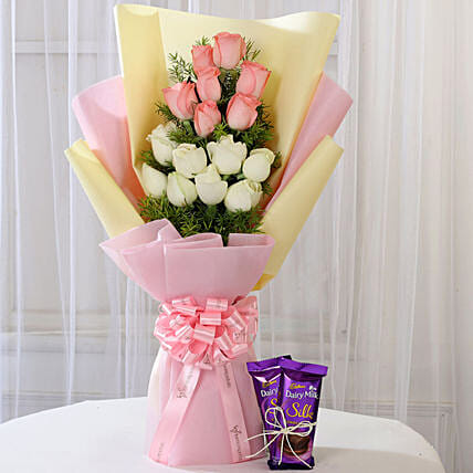 Pink and White Roses with Chocolate Combo:Flowers Delivery In Shimla