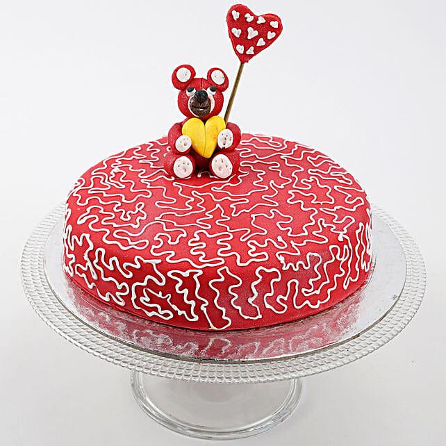 Teddy Hearts Butterscotch Cake 1.5 Kg Eggless