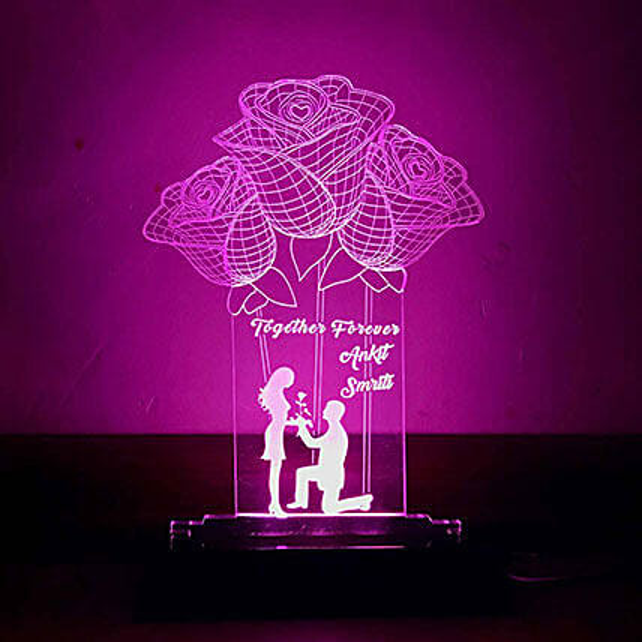 Valentine Personalised Rose Lamp  Online