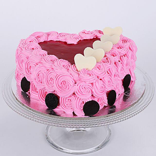 Pink Floral Heart Cake 1kg Eggless Vanilla