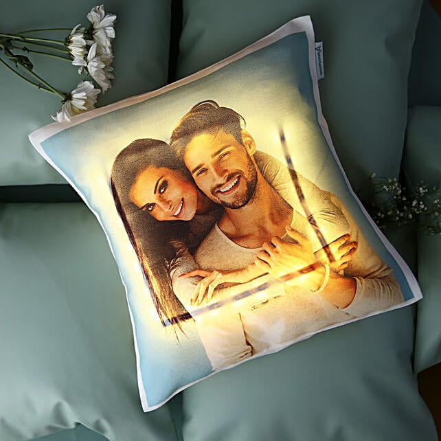 Yellow LED Personalised Love Cushion