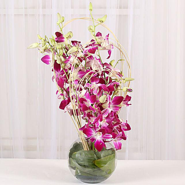 Purple Orchid Vase Arrangement