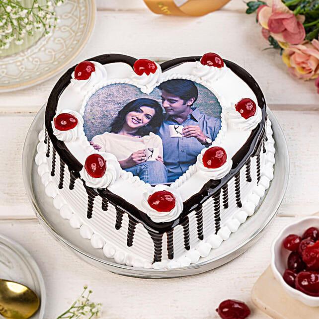 Heart Shaped Black Forest Photo Cake 1kg