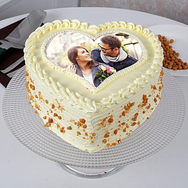 Heart Shaped Butterscotch Photo Cake 2kg Eggless