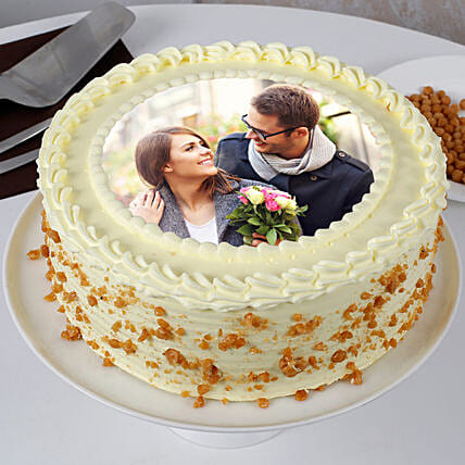 Personalised Round Shape Butterscotch Cake:Send Photo Cakes