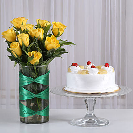 Yellow Roses in attractive Vase  with pineapple cake combo