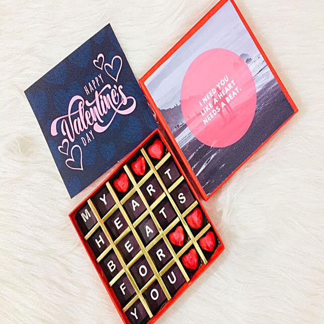 V-day alphabet printed in chocolates
