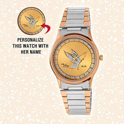 Personalised Silver & Golden Watch:Personalised Wrist Watch
