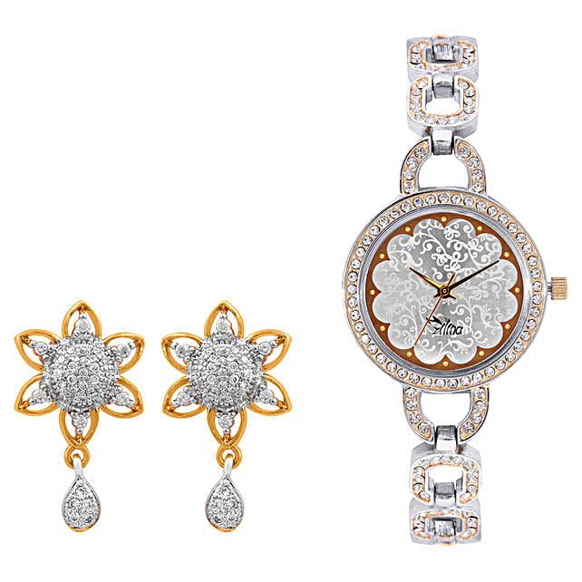 Personalised Watch With Elegant Earrings