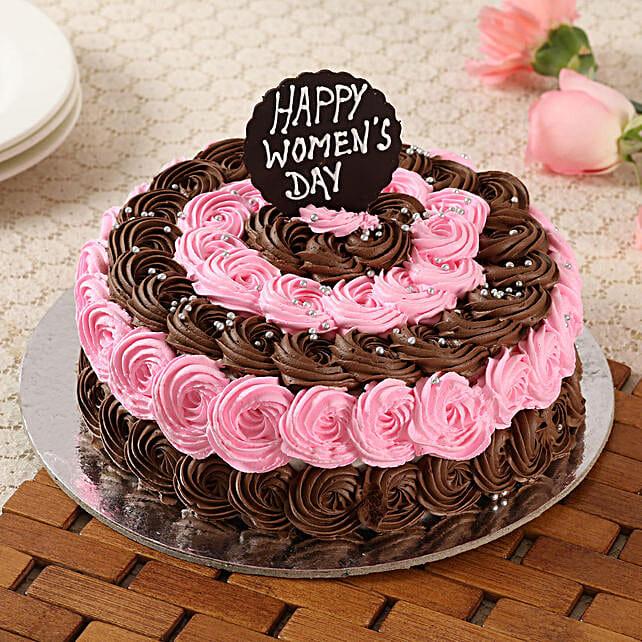 Decorated Women's Day Truffle Cake- Half Kg Eggless
