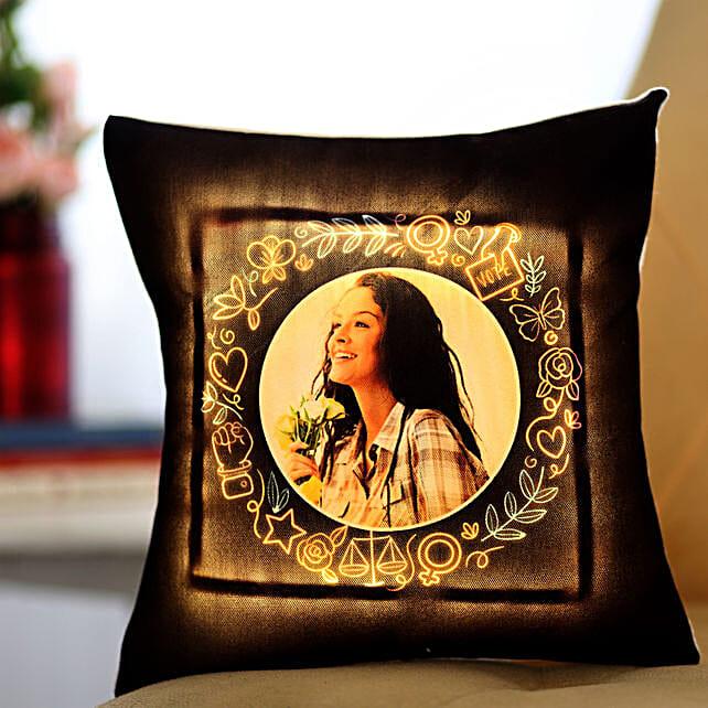 Personalised Yellow LED Cushion