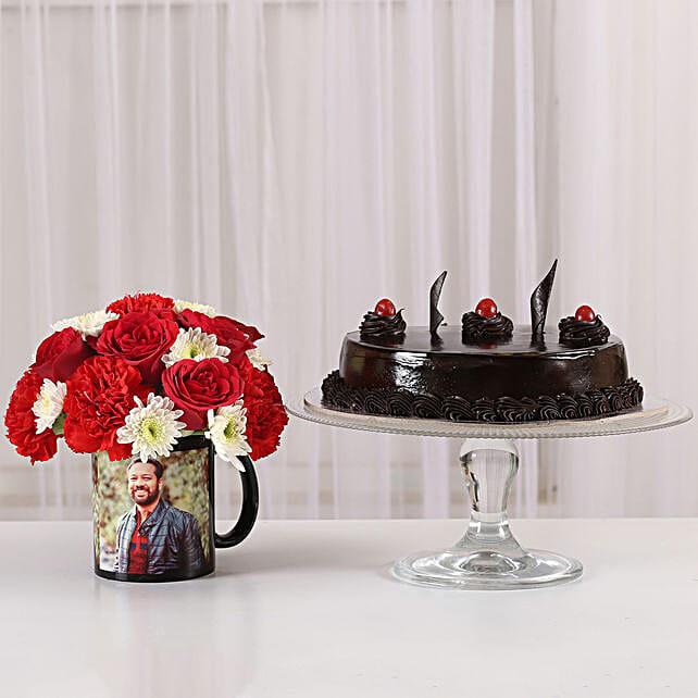 Mixed Flowers Photo Mug & Truffle Cake