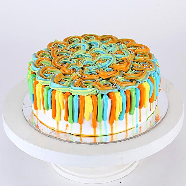 Colorful Floral Holi Vanilla Cake- 1 Kg Eggless