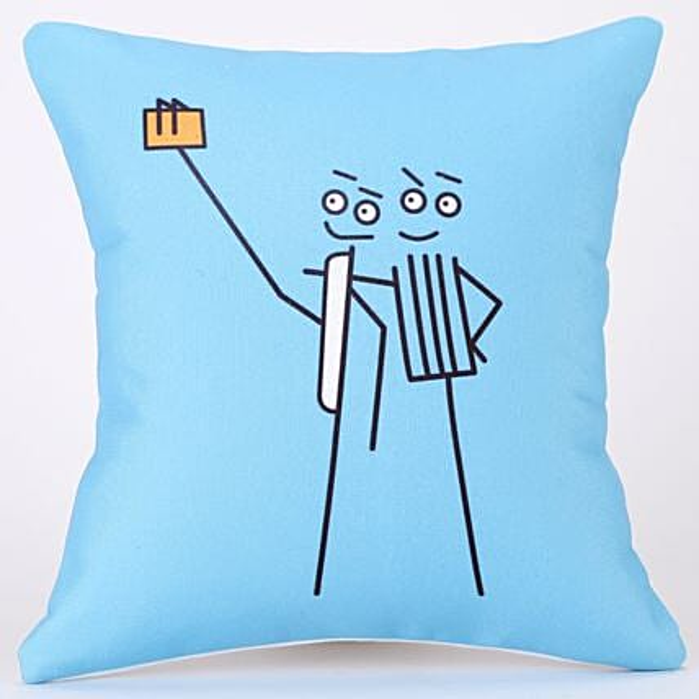 Taking A Selfie Joyful Printed Blue Cushion Cover