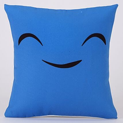 The Smiling Cute Printed Blue Cushion Cover
