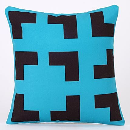 Black Blue Mesmerizing Design Printed Cushion Cover
