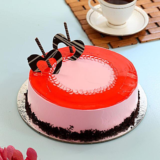 Red Glaze Strawberry Cake- Half Kg Eggless