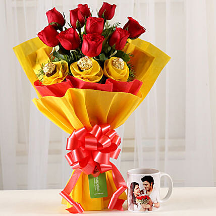Personalised Mug and Flower Bouquet Online:Personalised Gifts N Chocolates