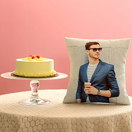 Butterscotch Cake with personalised Cushion