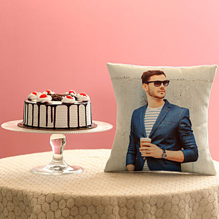 Picture Cushion & Black Forest Cake Combo
