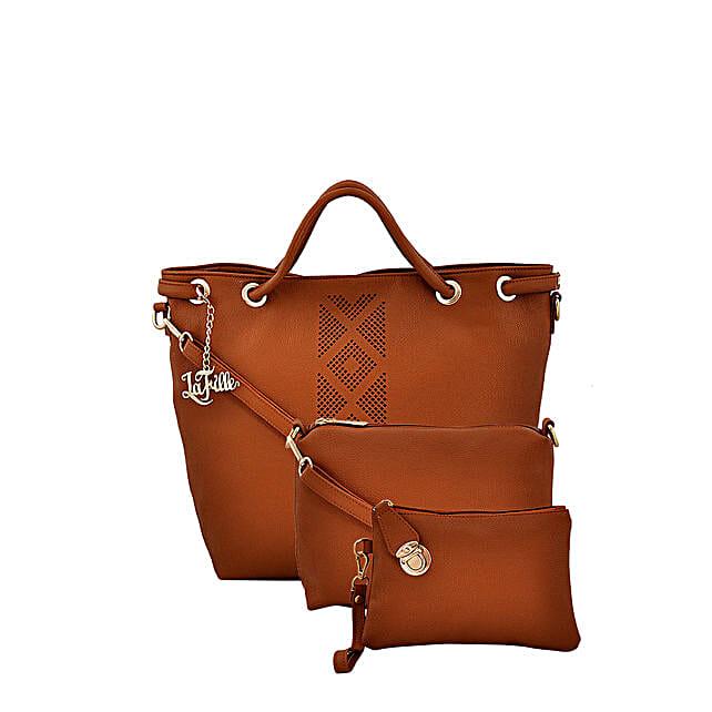 LaFille Elegant Tan Handbag Set