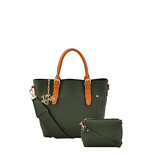 LaFille Graceful Green Handbag Set