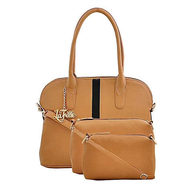 LaFille Set of 3 Tan Handbags