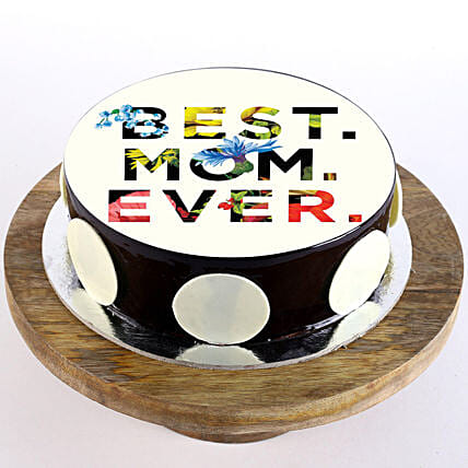 Best Mom Ever Chocolate Photo Cake- 1 Kg