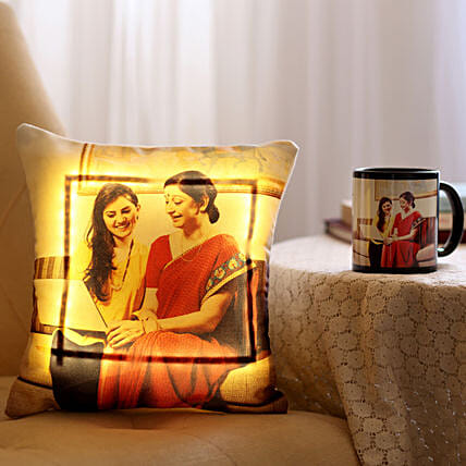 Personalised Mug & LED Cushion Combo For Mom