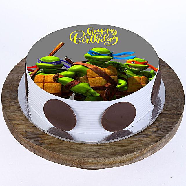 Ninja Turtles Photo Cake- Pineapple 2 Kg Eggless