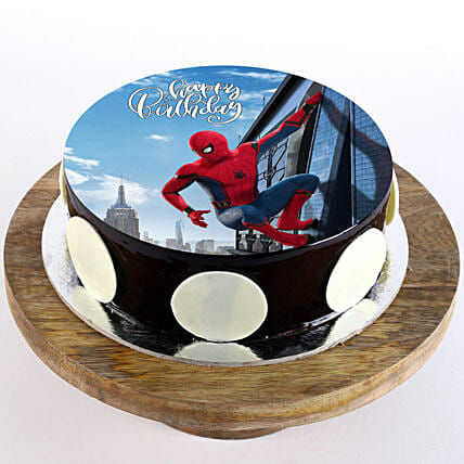 The Spiderman Chocolate Photo Cake- 1 Kg Eggless