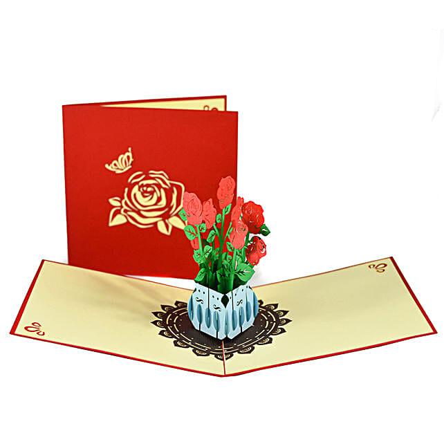 Online Handmade Rose Bouquet 3D Greeting Card