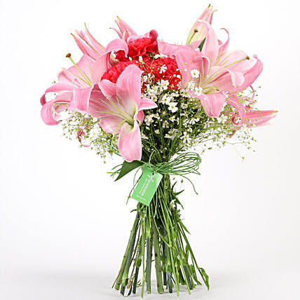 Carnations Lilies Hand Tied Bunch