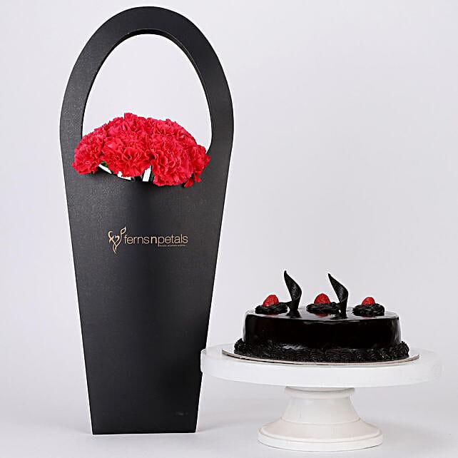 10 Pink Carnations Truffle Cake Combo