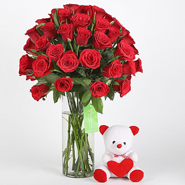 Online flower n teddy combo