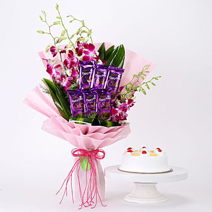 Online Bunch Of Orchids & Pineapple Cake Combo
