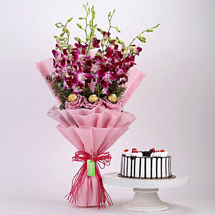 Online Black Forest Cake and Ferrero Orchids Bouquet:Cakes and Chocolates