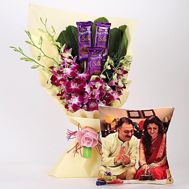 Online Dairy Milk & Orchids Bouquet Personalised Mug