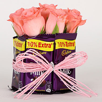 Dairy Milk & Pink Roses Arrangement