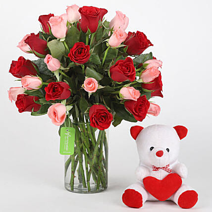 Mix Red n Pink roses with Teddy bear combo