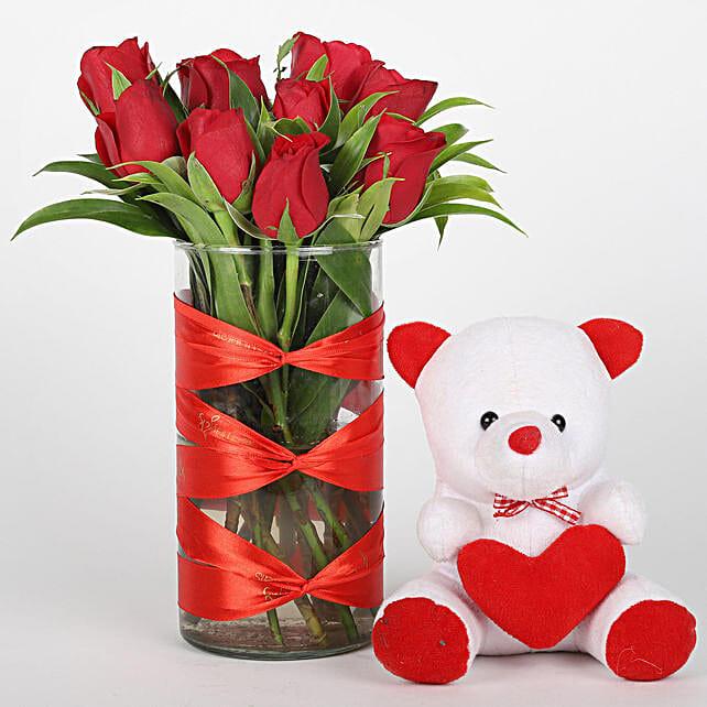 Red Roses Vase & Teddy Bear Combo